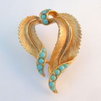 Vintage Sphinx Faux Turquoise Curved Leaf Brooch.